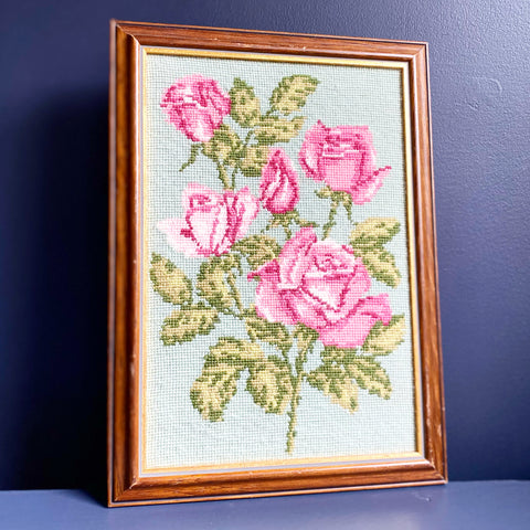 Vintage Floral Needlepoint Art