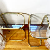 Set of 2 Brass and Glass Cantilever Side Tables
