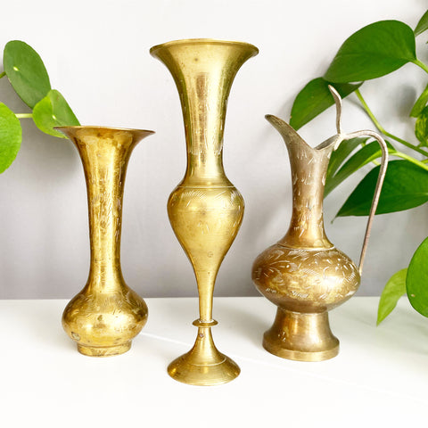 Set of 3 Mini Etched Brass Vases