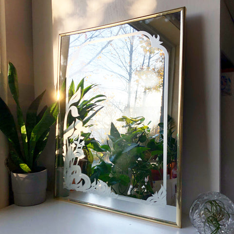Floral Embossed Brass Mirror