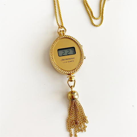 Astrosonic Pendant Watch on Gold Tone Chain (Oval)