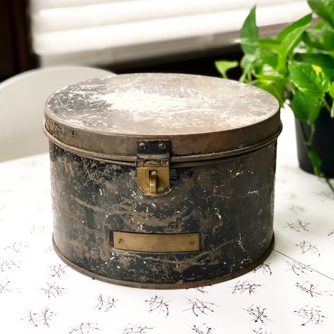 Vintage Black Metal Hat Box
