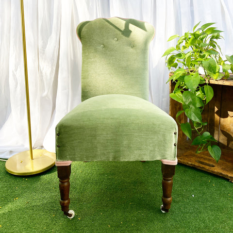 Vintage Green Slipper Chair with Pink Trim