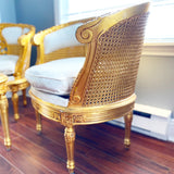 French Louis XVI Giltwood Double Cane Salon Chair Set with Table