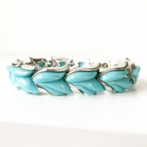 Turquoise and Silver Kramer Signed Bracelet