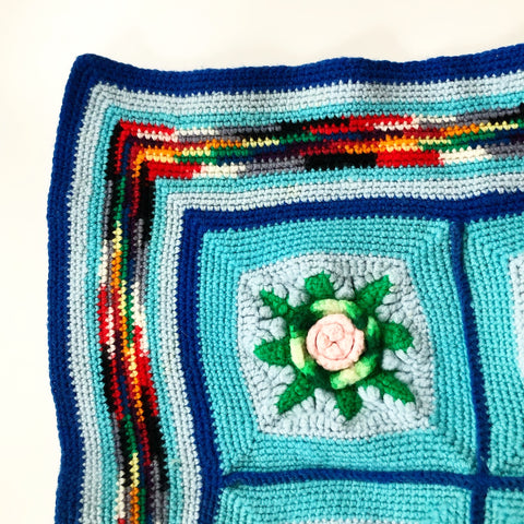 Crocheted Turquoise Floral LARGE Blanket Vintage Handmade