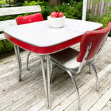 Vintage Red and Grey Crackle Chrome Table with Leaf and 2 Chairs