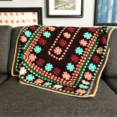 Crocheted Vintage Throw Brown, Turquoise, Pink Green and Maroon