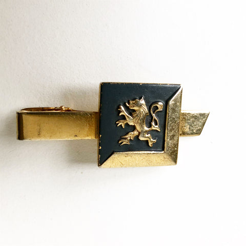 Gold Tone with Lion on Grey Vintage Tie Clip
