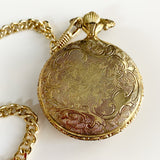 Quartex Gold Tone Pocket Watch with Watch Chain