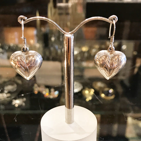 Sterling Silver Puffy Heart Earrings