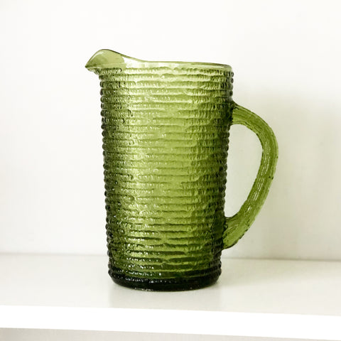 Small Green Glass Pitcher
