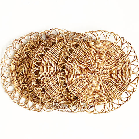 Set of 4 Large Rattan Placemats