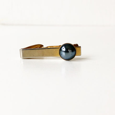 Gold Tone Vintage Tie Clip with Hematite Stone