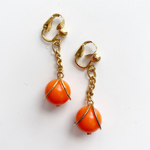 Orange and Gold 1980s Clip-ons
