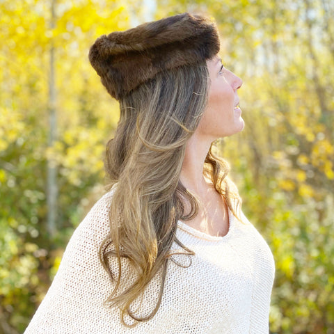 Vintage Dark Fur Pillbox Hat