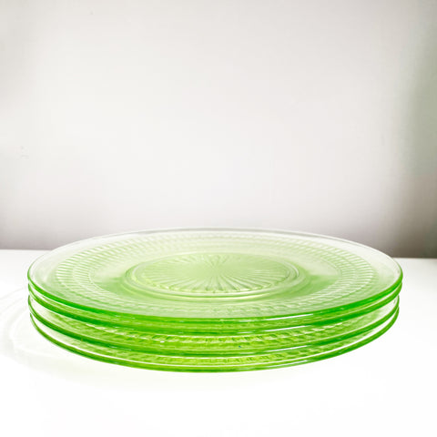 Set of 4 Green Depression Glass Plates