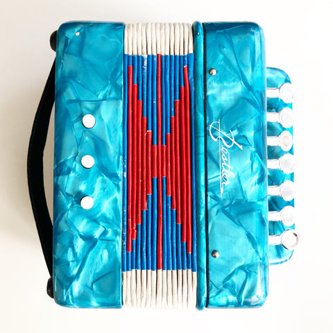 Accordion Toy by Bestler Turquoise Vintage Retro 7 Key