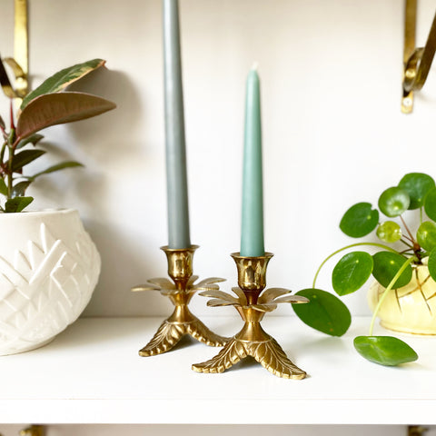 Brass Floral Candlesticks