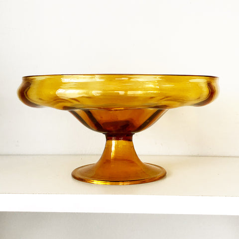 Amber Glass Pedestal Bowl