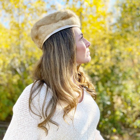 Vintage Light Fur Pillbox Hat