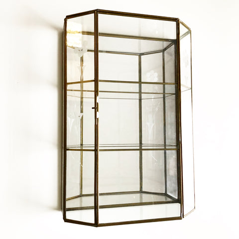 Mirrored Brass & Glass Small Curio Cabinet