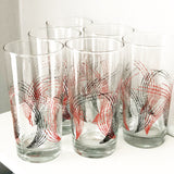 Set of 6 Black White and Red Retro Glasses
