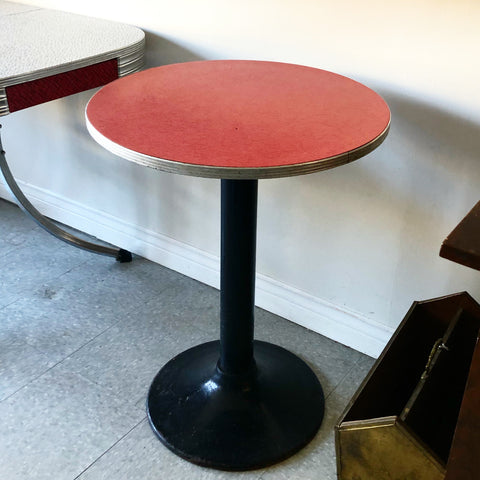 Retro Red Bistro Table with Cast Iron Base