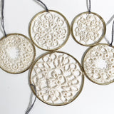 Set of 5 Brass and Crochet Hoops