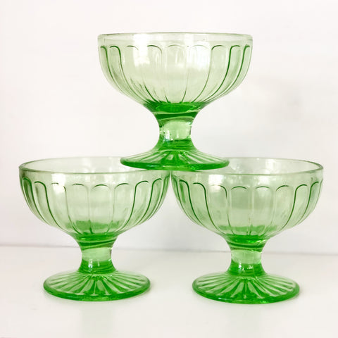 Set of 3 Depression Glass Dessert Bowls