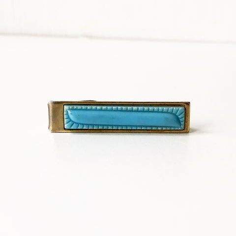 Gold Tone with Baby Blue Vintage Tie Clip