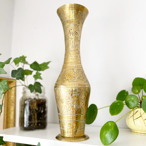 Large Etched Brass Vase