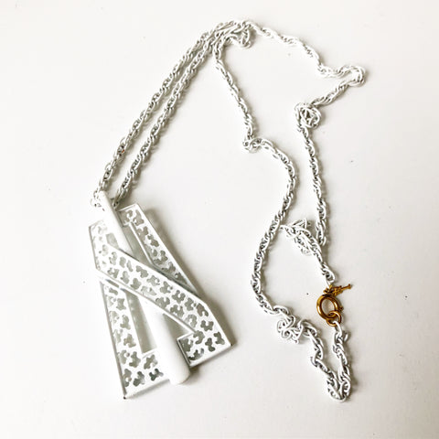 Long White Mod Necklace