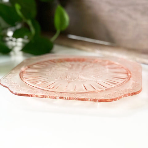 Pink Depression Glass Etched Cake Plate