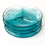 Turquoise Glass Sectioned Plate