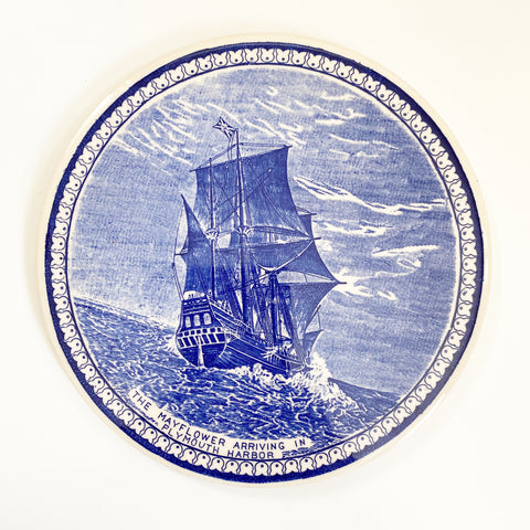 Blue & White Mayflower Trivet Staffordshire Ware