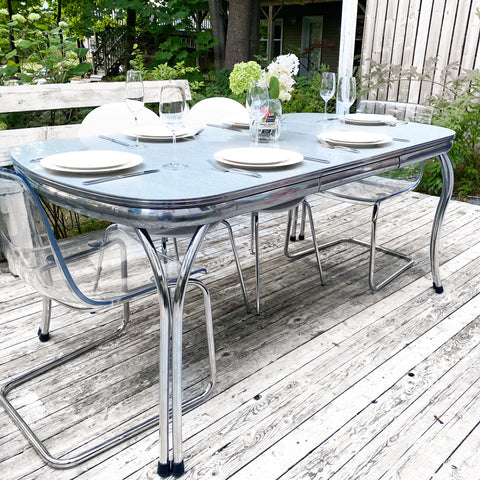 Vintage Chrome Dining Table with Built in Leaf