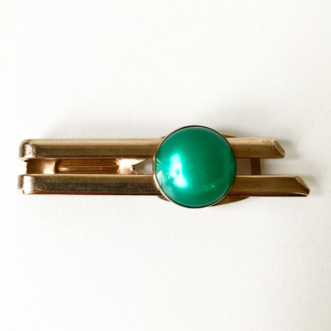 Gold Tone with Green Stone Vintage Tie Clip