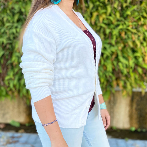 North Country Eaton White Crested Cardigan
