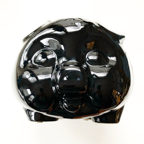 Black Ceramic Large Piggy Bank Vintage Retro