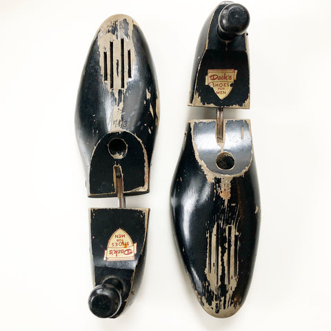 Set of Shoe Forms Vintage Black Wooden Dack's Shoes Branded