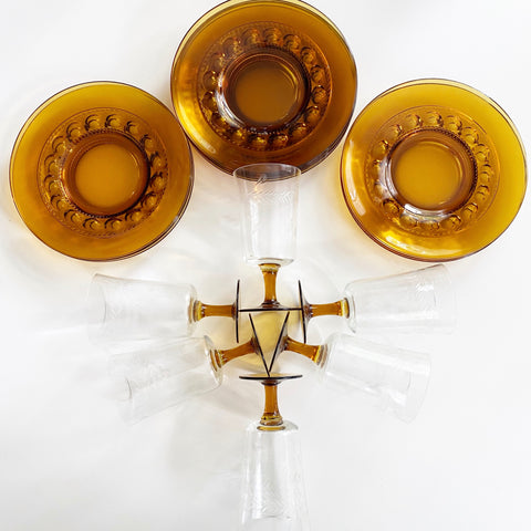 Amber Glass Luncheon Set