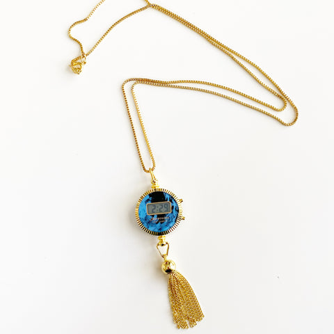 Astrosonic Pendant Watch on Gold Tone Chain (Blue Circle)