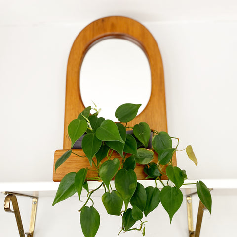 Vintage Wooden Mirror with Pocket