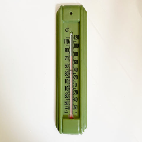 Vintage Outdoor Thermometer Avocado Green