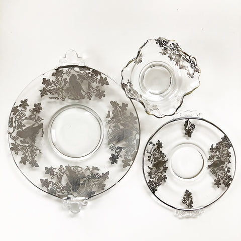 Set of 3 Silver Overlay Glass Dishes Set with Bird Motif