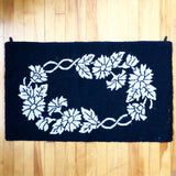 Black and White Vintage Hooked Rug