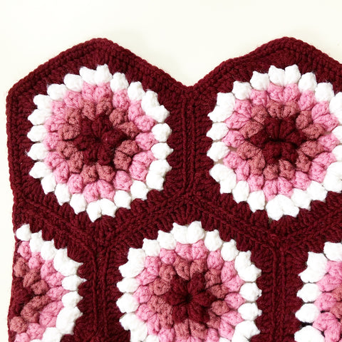 Crocheted Blanket Maroon Pink White Vintage Large