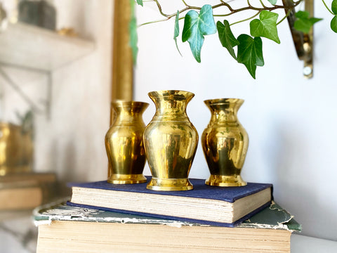 Trio of Mini Brass Vases