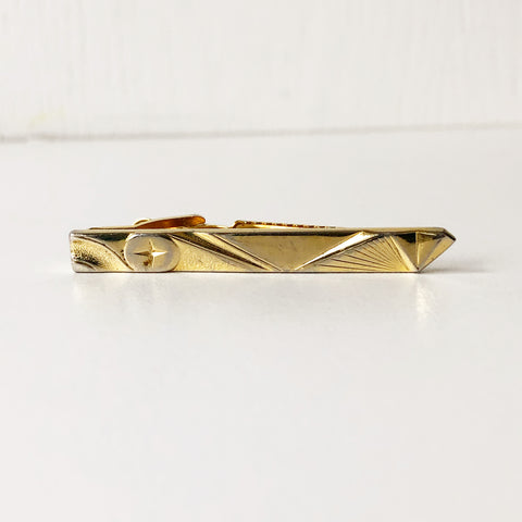 Gold Tone Vintage Tie Clip with Starburst